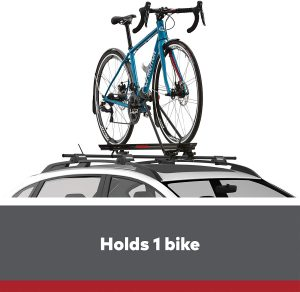 The Yakima Raptor Aero Rooftop Upright Bike Rack
